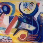 Little Steamboat, acryl op linnen ca. 10x11 inch, 1998