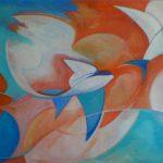 Zwaluwvlucht (door nieuwe eigenaar 'Vrijheid' genoemd)2011, 100x150 cm acryl op linnen